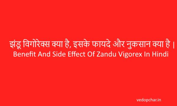 झंडू विगोरेक्स क्या है, इसके फायदे और नुकसान क्या है | Benefit And Side Effect Of Zandu Vigorex In Hindi