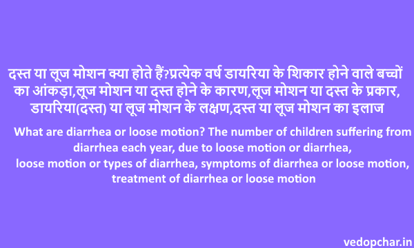 Diarrhea or Loose motion in hindi:दस्त या लूज मोशन इन हिंदी