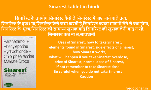 Sinarest tablet in hindi सिनारेस्ट टेबलेट:उपयोग,दुष्प्रभाव,खुराक