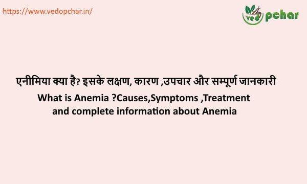 Anemia in Hindi : एनीमिया क्या है? इसके लक्षण, कारण ,उपचार और सम्पूर्ण जानकारी