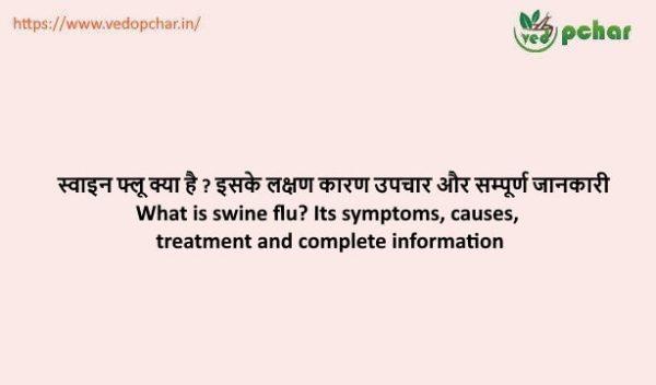 Swine flu in hindi : स्वाइन फ्लू क्या है ? इसके लक्षण कारण उपचार और सम्पूर्ण जानकारी